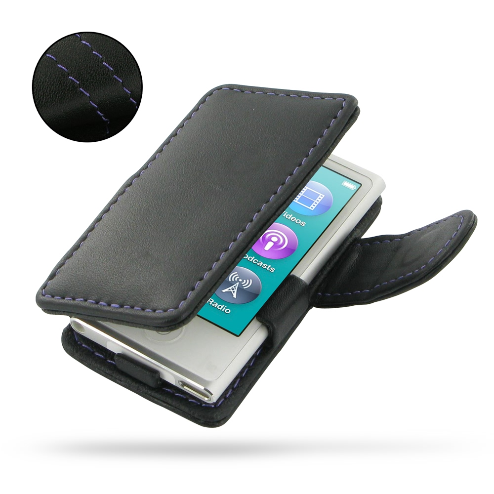 best cheap 72ed8 00b3a Leather Book Case for Apple iPod nano 8th / iPod nano 7th Generation  (Purple Stitch)