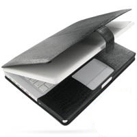 MacBook 2008 13 Leather Flip Cover (Black Croc) PDair Premium Hadmade Genuine Leather Protective Case Sleeve Wallet