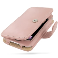 iPod Touch 2nd Leather Flip Cover (Pink) PDair Premium Hadmade Genuine Leather Protective Case Sleeve Wallet