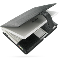 Leather Book Case for Asus Eee PC 700 701 (Black Snake Pattern)