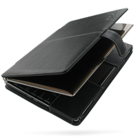 Asus Eee PC S101 Leather Flip Cover (Black) PDair Premium Hadmade Genuine Leather Protective Case Sleeve Wallet