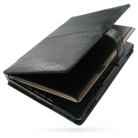 Asus Eee PC S101 Leather Flip Cover (Black Croc) PDair Premium Hadmade Genuine Leather Protective Case Sleeve Wallet