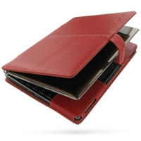 Asus Eee PC S101 Leather Flip Cover (Red) PDair Premium Hadmade Genuine Leather Protective Case Sleeve Wallet
