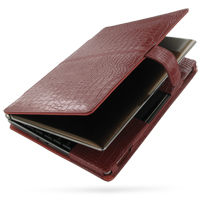Asus Eee PC S101 Leather Flip Cover (Red Croc) PDair Premium Hadmade Genuine Leather Protective Case Sleeve Wallet
