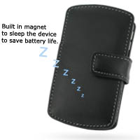 Leather Book Case for BlackBerry Curve 8300 (Black)
