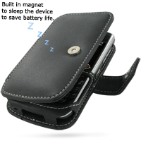 Leather Book Case for BlackBerry Curve 8900 Javelin (Black)