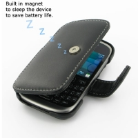 BlackBerry Curve 9320 Leather Flip Cover (Black) PDair Premium Hadmade Genuine Leather Protective Case Sleeve Wallet