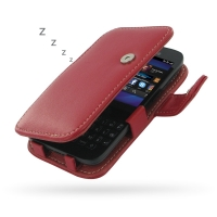 BlackBerry Q5 Leather Flip Cover (Red) PDair Premium Hadmade Genuine Leather Protective Case Sleeve Wallet
