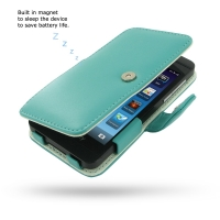 BlackBerry Z10 Leather Flip Cover (Aqua) PDair Premium Hadmade Genuine Leather Protective Case Sleeve Wallet