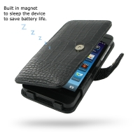 BlackBerry Z10 Leather Flip Cover (Black Croc) PDair Premium Hadmade Genuine Leather Protective Case Sleeve Wallet