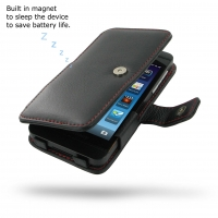 BlackBerry Z10 Leather Flip Cover (Red Stitching) PDair Premium Hadmade Genuine Leather Protective Case Sleeve Wallet