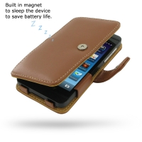 BlackBerry Z10 Leather Flip Cover (Brown) PDair Premium Hadmade Genuine Leather Protective Case Sleeve Wallet