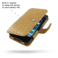 BlackBerry Z10 Leather Flip Cover (Brown Croc) PDair Premium Hadmade Genuine Leather Protective Case Sleeve Wallet