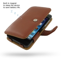 BlackBerry Z10 Leather Flip Cover (Brown Pebble Leather) PDair Premium Hadmade Genuine Leather Protective Case Sleeve Wallet
