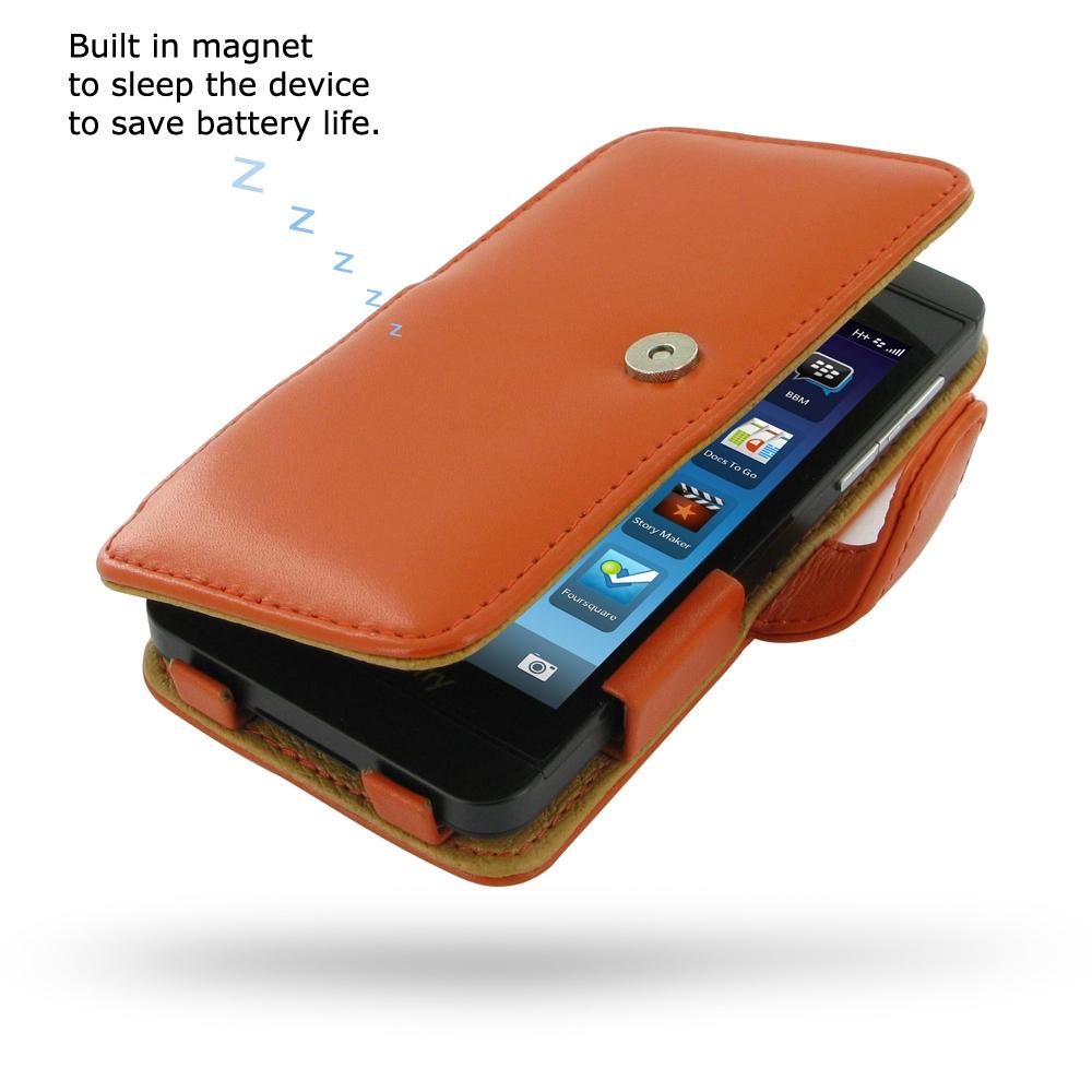 Leather Book Case for BlackBerry Z10 (Orange)