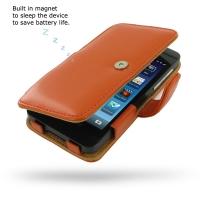 BlackBerry Z10 Leather Flip Cover (Orange) PDair Premium Hadmade Genuine Leather Protective Case Sleeve Wallet