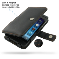 BlackBerry Z10 Leather Flip Cover (Orange Stitch) PDair Premium Hadmade Genuine Leather Protective Case Sleeve Wallet