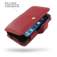 BlackBerry Z10 Leather Flip Cover (Red) PDair Premium Hadmade Genuine Leather Protective Case Sleeve Wallet