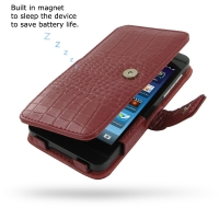 BlackBerry Z10 Leather Flip Cover (Red Croc) PDair Premium Hadmade Genuine Leather Protective Case Sleeve Wallet