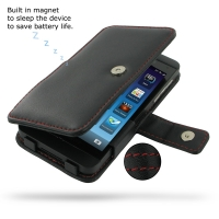 BlackBerry Z10 Leather Flip Cover (Red Stitch) PDair Premium Hadmade Genuine Leather Protective Case Sleeve Wallet