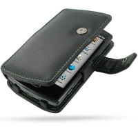 Garmin nuvifone A50 Leather Flip Cover (Green Stitch) PDair Premium Hadmade Genuine Leather Protective Case Sleeve Wallet