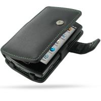 Leather Book Case for Garmin-Asus nuvifone A50/T-Mobile Garminfone A50 (Green Stitch)