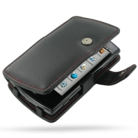 Garmin nuvifone A50 Leather Flip Cover (Red Stitch) PDair Premium Hadmade Genuine Leather Protective Case Sleeve Wallet