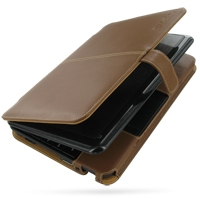 HP Mini 1000 1001 Leather Flip Cover (Brown) PDair Premium Hadmade Genuine Leather Protective Case Sleeve Wallet
