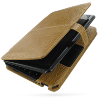 HP Mini 1000 1001 Leather Flip Cover (Brown Croc) PDair Premium Hadmade Genuine Leather Protective Case Sleeve Wallet