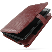 HP Mini 1000 1001 Leather Flip Cover (Red Croc) PDair Premium Hadmade Genuine Leather Protective Case Sleeve Wallet