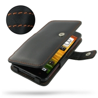 HTC Butterfly Leather Flip Cover (Orange Stitch) PDair Premium Hadmade Genuine Leather Protective Case Sleeve Wallet