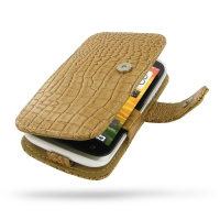 HTC Desire V Leather Flip Cover (Brown Croc) PDair Premium Hadmade Genuine Leather Protective Case Sleeve Wallet