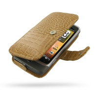 Leather Book Case for HTC Desire Z/T-mobile G2 (Brown Crocodile Pattern)