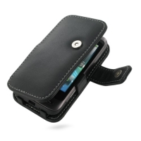 HTC Freestyle Leather Flip Cover (Black) PDair Premium Hadmade Genuine Leather Protective Case Sleeve Wallet