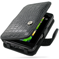 HTC HD7 T9292 Leather Flip Cover (Black Croc) PDair Premium Hadmade Genuine Leather Protective Case Sleeve Wallet