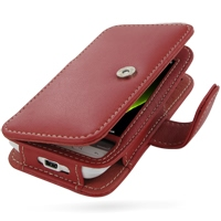 Leather Book Case for HTC Hero (Red)