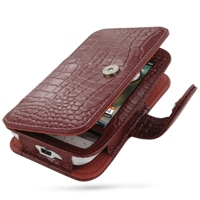 Leather Book Case for HTC Hero (Red Crocodile Pattern)