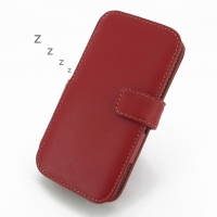 HTC One M8 Leather Flip Cover (Red) PDair Premium Hadmade Genuine Leather Protective Case Sleeve Wallet