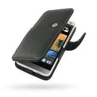 HTC One mini Leather Flip Cover PDair Premium Hadmade Genuine Leather Protective Case Sleeve Wallet