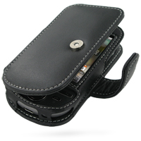 Leather Book Case for HTC Tattoo (Black)
