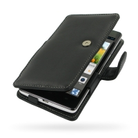 Leather Book Case for Huawei Ascend G700 (Black)
