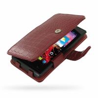 Leather Book Case for Huawei Ascend P1 XL U9200E (Red Crocodile Pattern)