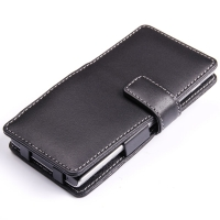 Huawei Ascend P2 Leather Flip Cover PDair Premium Hadmade Genuine Leather Protective Case Sleeve Wallet