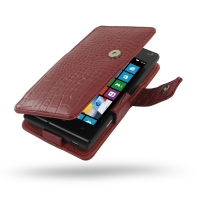 Huawei Ascend W1 Leather Flip Cover (Red Croc) PDair Premium Hadmade Genuine Leather Protective Case Sleeve Wallet