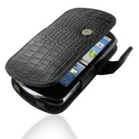 Huawei IDEOS X5 Leather Flip Cover (Black Croc) PDair Premium Hadmade Genuine Leather Protective Case Sleeve Wallet