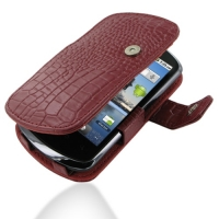 Leather Book Case for Huawei IDEOS X5 U8800 (Red Crocodile Pattern)
