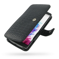 LG G3 Leather Flip Cover (Black Croc) PDair Premium Hadmade Genuine Leather Protective Case Sleeve Wallet