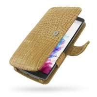 LG G3 Leather Flip Cover (Brown Croc) PDair Premium Hadmade Genuine Leather Protective Case Sleeve Wallet