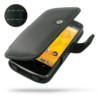 Nexus 4 Leather Flip Cover (Green Stitch) PDair Premium Hadmade Genuine Leather Protective Case Sleeve Wallet