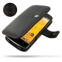 Nexus 4 Leather Flip Cover (Red Stitch) PDair Premium Hadmade Genuine Leather Protective Case Sleeve Wallet